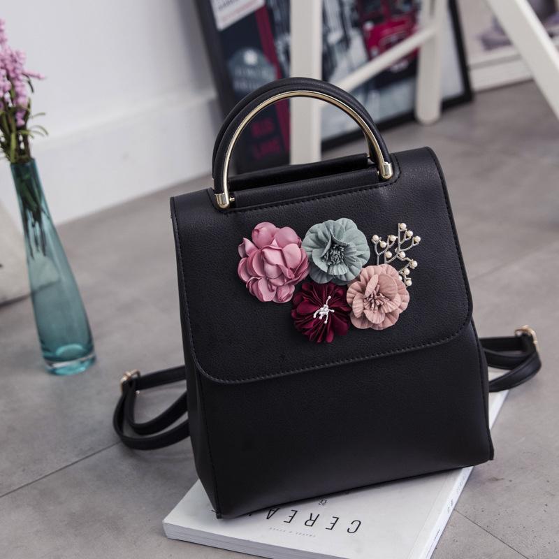 PU Leather Women Backpack Female Style Trend Three-dimensional Flower Shoulder Bag Women's Backpack(Black)
