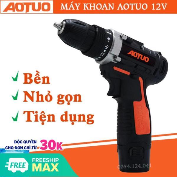 [ máy khoan pin 12v giá rẻ ] Máy khoan AOTUO pin 12V - máy khoan đa năng , máy khoan bắn vit , máy khoan cầm tay , bộ máy khoan sửa chữa vặn vít Aotuo 12V có đảo chiều