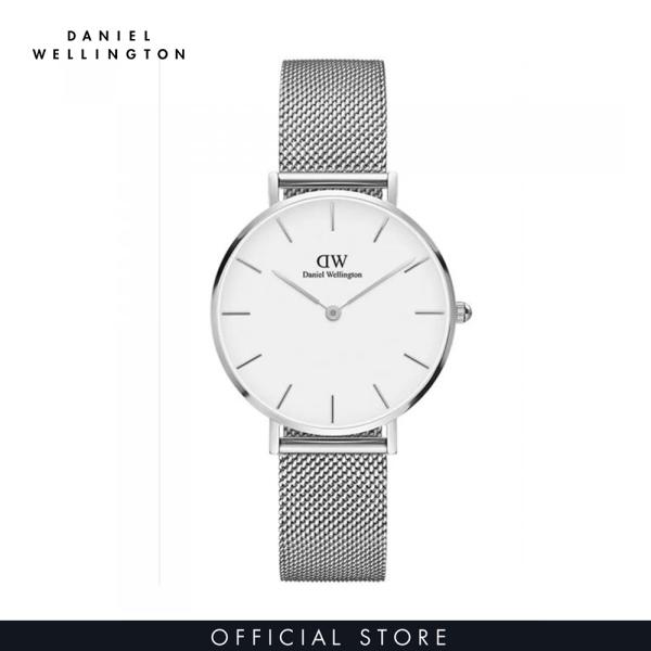 Đồng hồ Nữ Daniel Wellington dây lưới - Petite Sterling mặt trắng - vỏ bạc