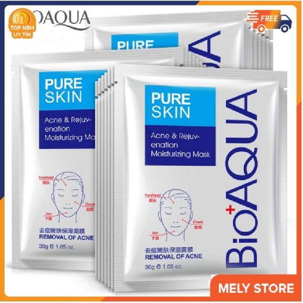 Combo 5 mặt nạ giấy dưỡng da Bạc cấp ẩm Bioaqua Pure Skin giúp dưỡng ẩm và kiềm dầu, se khít lỗ chân lông, làm săn và tăng độ đàn hồi, chống lão hóa, mặt nạ giấy dưỡng trắng da SPU044