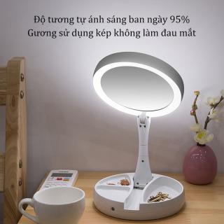 Urbeauty Gương soi trang điểm để bàn gấp gọn có đèn led kết nối USB và pin AA Gương trang điểm có đèn led phát sáng có thể gấp gọn để bàn hoặc mang theo bên người tiện dụng, gương để bàn thumbnail