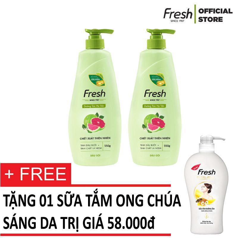 Bộ dầu gội dưỡng tóc Tinh dầu bưởi Fresh 550g + Tặng kèm Sữa tắm Ong chúa sáng da 550g tốt nhất