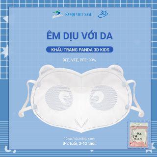 [Chính hãng] Khẩu trang 3Q kháng khuẩn - Khẩu trang Gấu trúc cho bé từ 0 - 2 tuổi (size S) (set 10 cái bịch) thumbnail