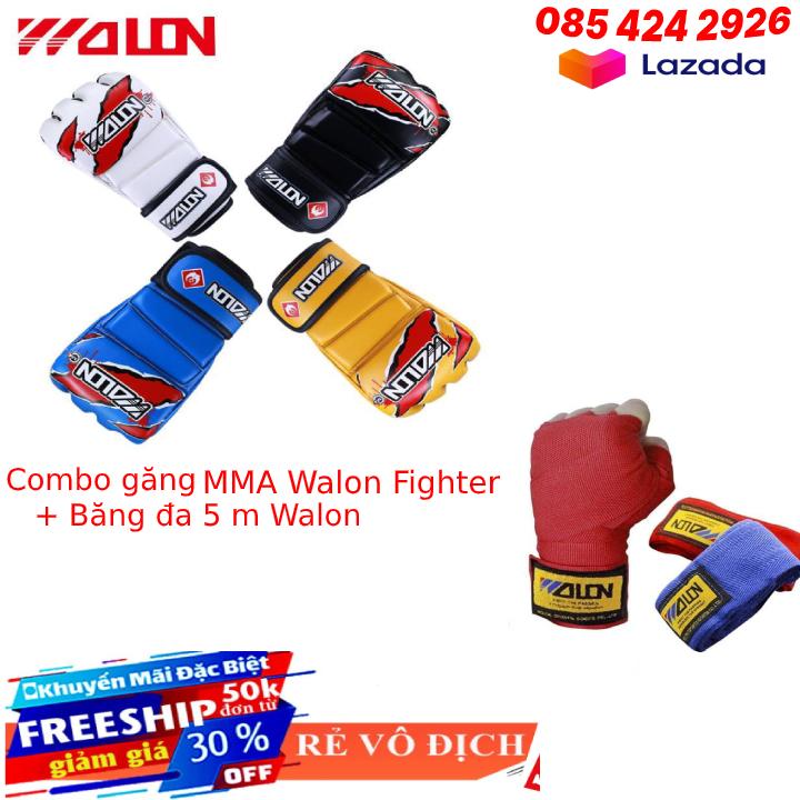 Găng tay đấm bốc | găng mma | găng đấm mma | găng đấm bốc boxing mma walon fighter chuẩn thi đấu tặng băng đa boxing mma walon 3 m - Bảo hành 6 tháng