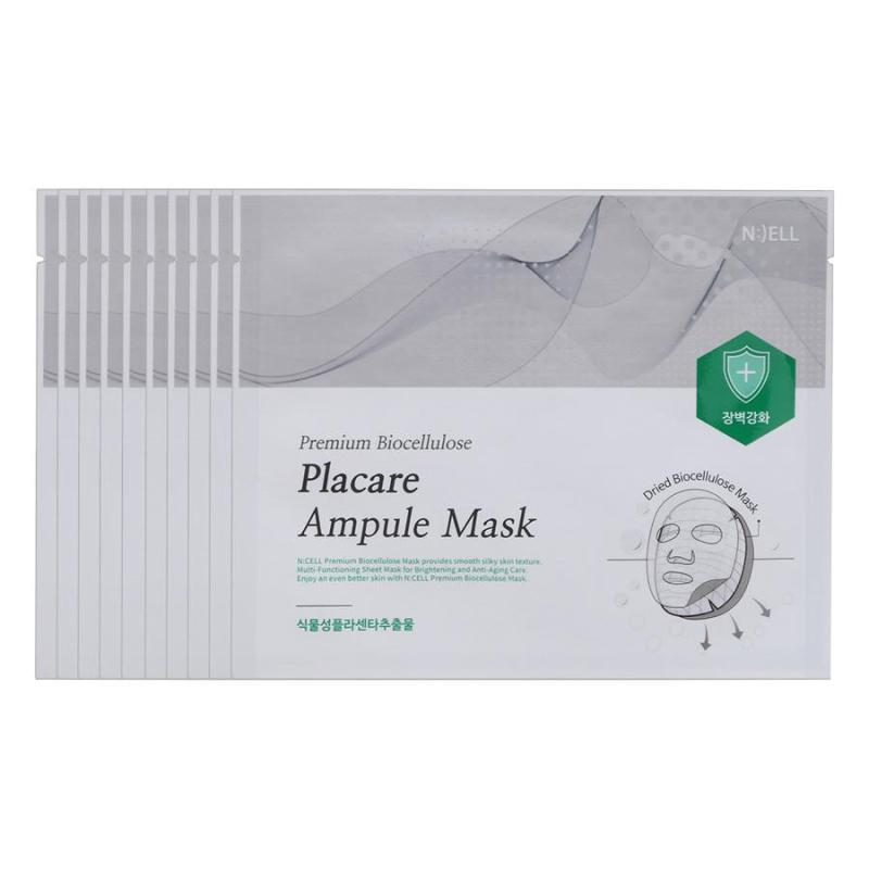 COMBO 10 Mặt Nạ Lụa Sinh Học Cao Cấp Premium Bio Cellulose Placare Ampule (Nuôi dưỡng da và Phục Hồi Da Lão Hóa Chiết Xuất Từ Nhau Thai Cừu và tế bào gốc thực vật)