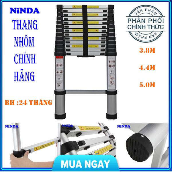 (BẢO HÀNH 24 THÁNG) Thang nhôm rút 3,8m đến 5m NinDa - Nút cao su chống trượt, khóa chống rung lắc , 2x9 bậc , tải trọng 300kg