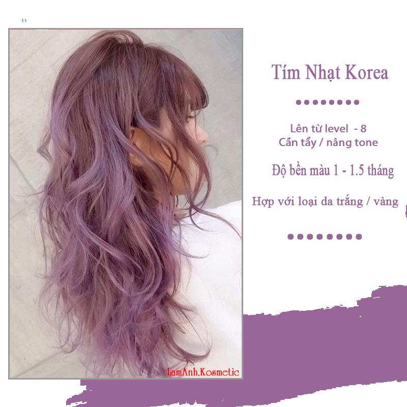 Thuốc nhuộm tóc LIGHT LAVENDER - TÍM LAVENDER NHẠT màu nhuộm lên mầu chuẩn tone kem nhuộm an toàn không sót mùi thơm nhập khẩu