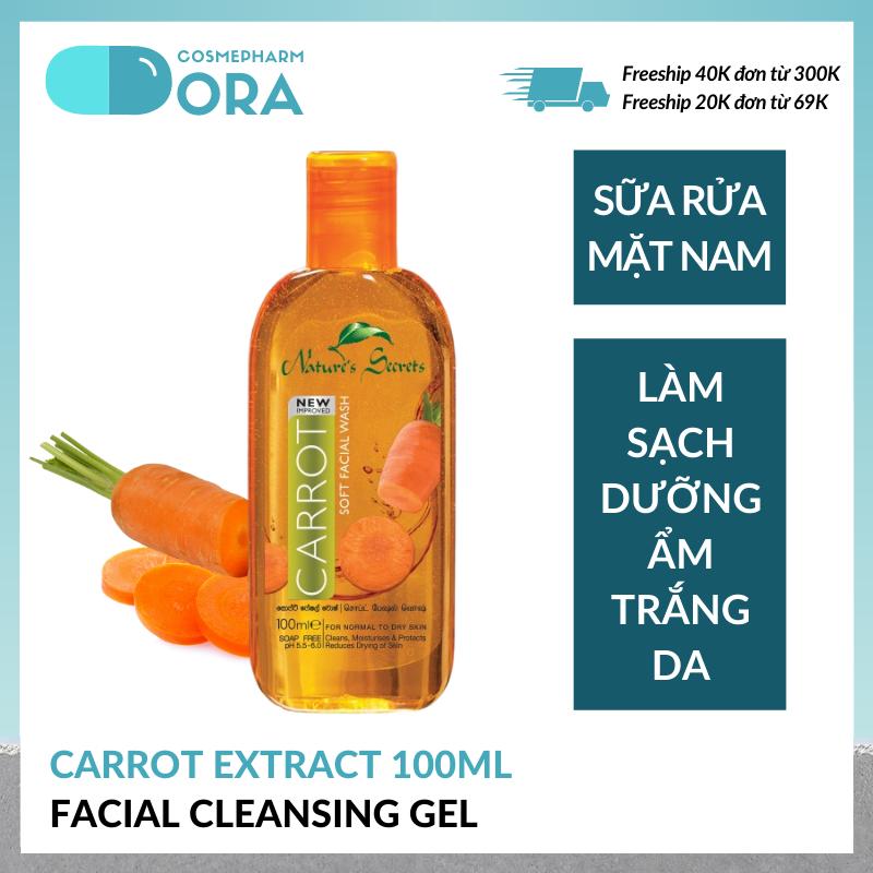 Sữa rửa mặt nam dưỡng ẩm trắng da Carrot Extract Facial Cleansing Gel 100ml giá rẻ