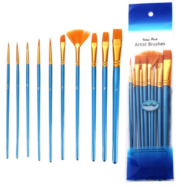 Mua Bộ 10 cọ vẽ màu nước, sơn dầu chuyên nghiệp , đầu sợi nylon với tay cầm bằng gỗ , kiến tạo những bức họa đỉnh cao