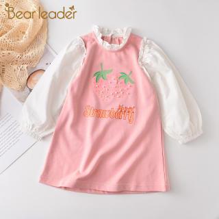 đầm Bear Leader tay dài cổ bèo in hình trái dâu đính ngọc trai, trang phục ngọt ngào cho bé gái 2-7 tuổi - INTL