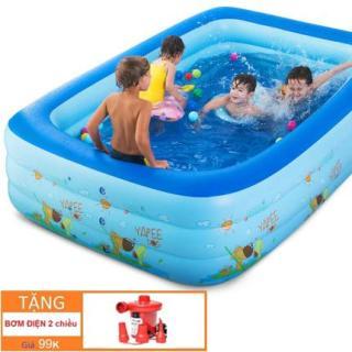 Bể bơi cho bé-Hồ bơi trẻ em-Ho boi cho be khuyen mai-Phao bơi trong nhà - gia đình, Hồ bơi phao cho bé cho trẻ em tập bơi, loại dày cao cấp cỡ lớn 210cm X 145cm X 65cm Tập bơi - ( Màu ngẫu nhiên)+Tặng kèm 1 bơm điện 2 chiều thumbnail
