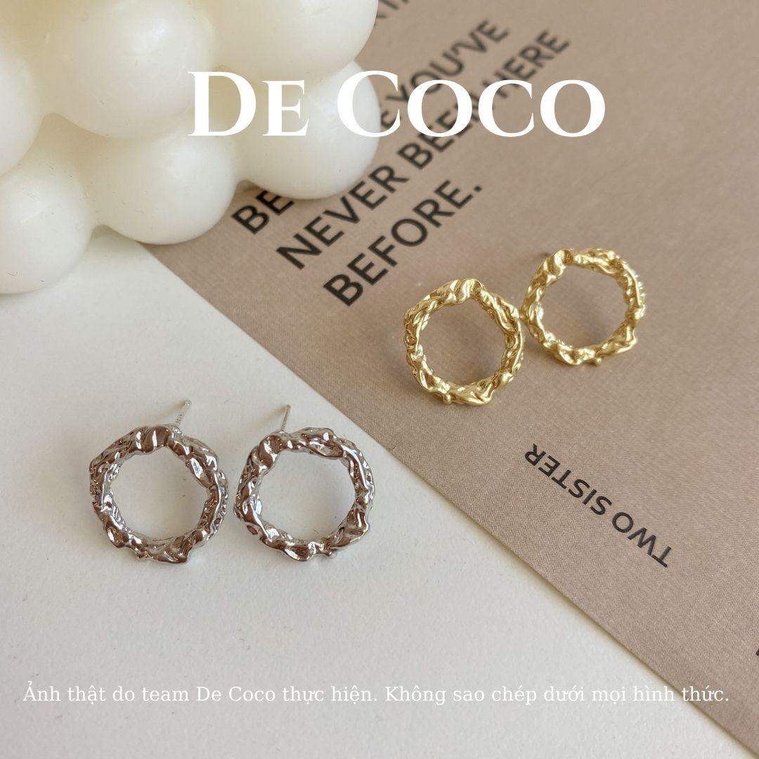 Bông tai Khuyên tai bạc vòng tròn Hàn Quốc De Coco Decoco