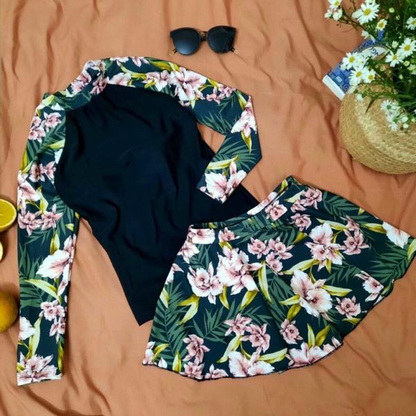 Nơi bán Đồ bơi nữ Bikini thân đen dài tay dáng váy kín đáo họa tiết hoa đi biển đi bơi đẹp nâng ngực tôn dáng gợi cảm sang chảnh đi biển ảnh thật 100% 1 đổi 1 có video thật mẫu 2021 | QP009