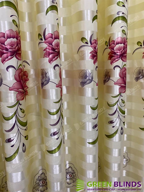 Rèm cửa hoa văn màu hồng tím cản sáng có sẳn khoen