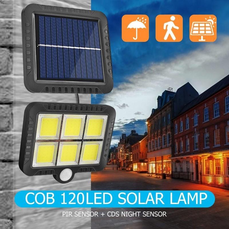 Đèn led cob 100 và led cob 120 năng lượng mặt trời cảm biến hồng ngoại dây dài 5 m pin tách rời