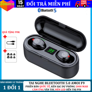 Tai nghe bluetooth không dây amoi F9, tai nghe không dây bluetooth 5.0, tai nghe nút cảm ứng, tai nghe tự động kết nối, tai nghe âm thanh HD, chống nước, chống ồn, tai nghe kén sạc kiêm sạc dự phòng dung lượng 2000 mAh thumbnail