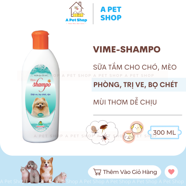 Sữa tắm cho chó, mèo phòng và diệt ve, bọ chét, rận Vime-Shampo Vemedim 300ml - sữa tắm diệt ve chó a pet shop