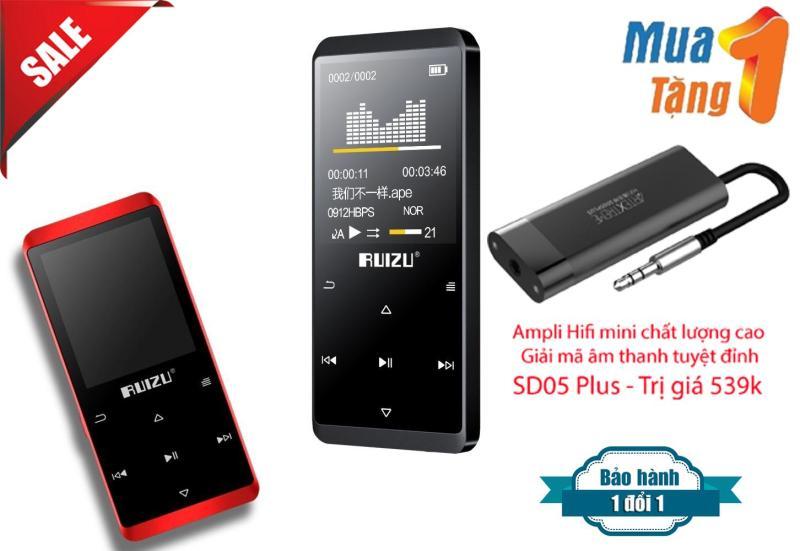 Máy Nghe Nhạc MP3/MP4 Lossless Bluetooth Ruizu D02 8GB + Tặng Ampli Mini hỗ trợ giải mã âm thanh chất lượng cao SD05 Plus