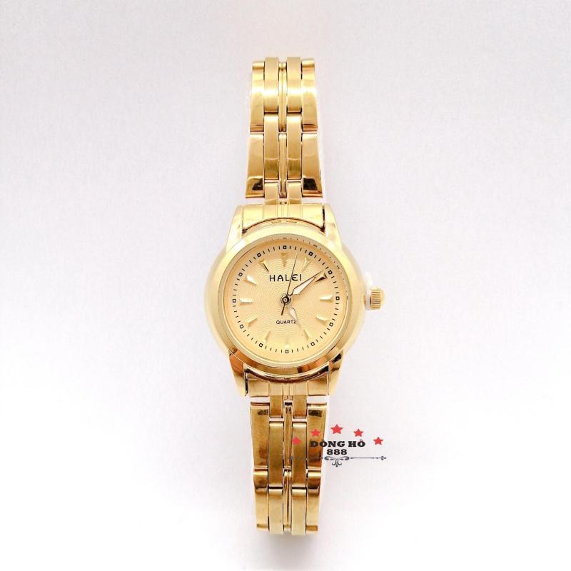 Đồng hồ nữ HALEI dây kim loại thời thượng ( HL348 dây vàng mặt vàng ) - TẶNG 1 vòng tỳ hưu phong thuỷ