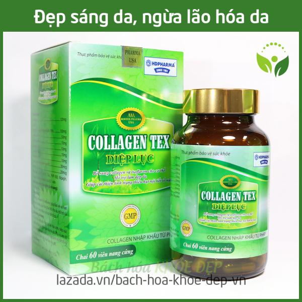 Viên uống Diệp Lục Collagen làm đẹp da, chống lão hóa, ngừa nếp nhăn - Hộp 60 viên bổ sung Vitamin E, Isoflavon, sữa ong chúa, nhai thai cừu nhập khẩu