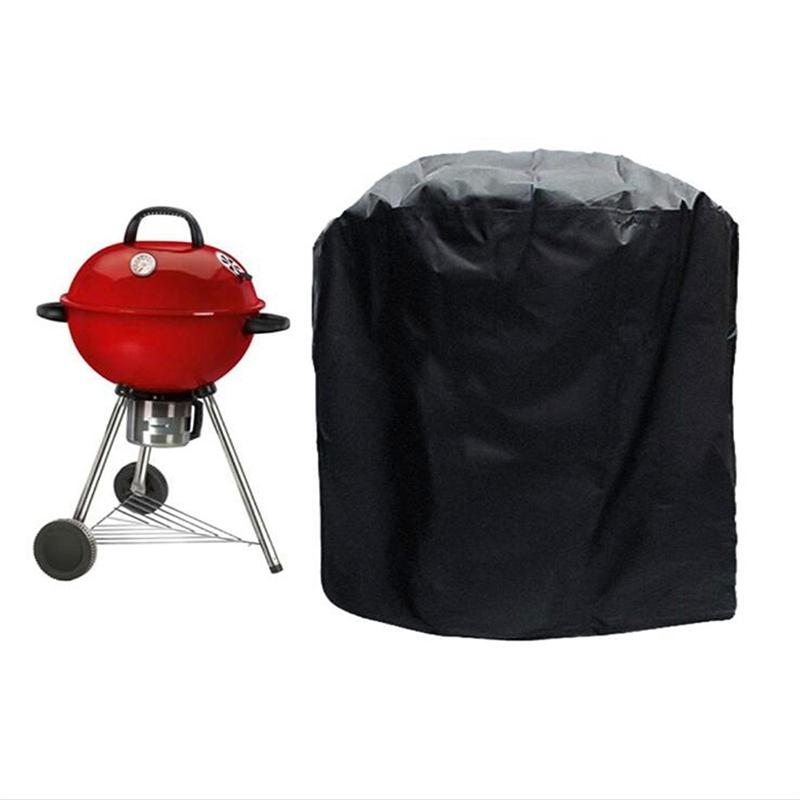 Black Waterproof Bbq Cover Round Dust Cover Bbq Grill Cover Anti Aging Rain Gas Charcoal Electric Barbeque Cover