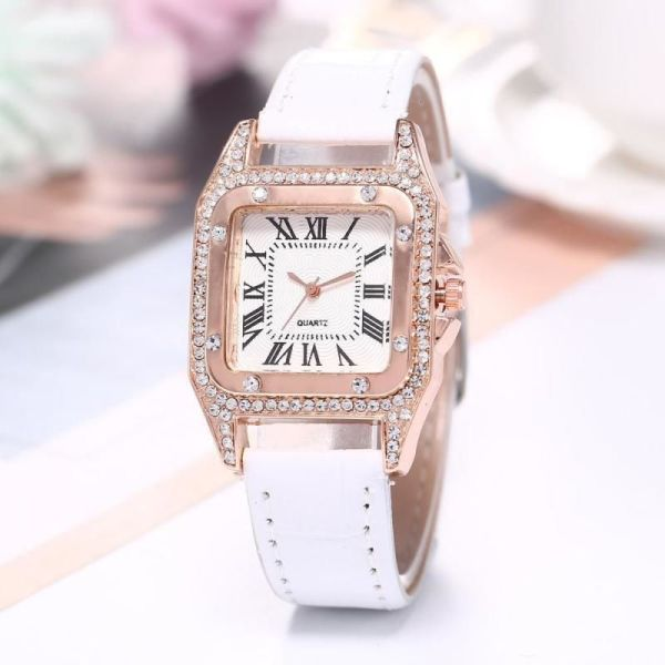 New diamond inlaid Roman square womens watch womens watch belt watch womens watch YK1I Malaysia