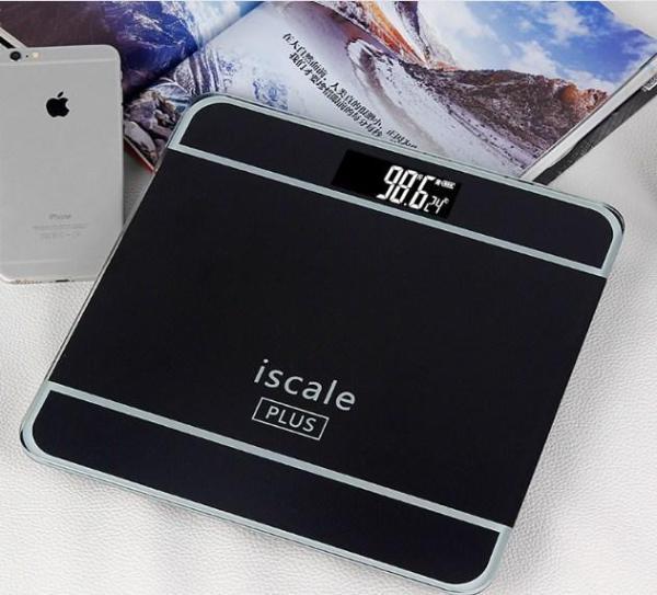 [TẶNG THƯỚC DÂY 1,5M] - Cân sức khỏe điện tử kiểu dáng iphone ISCALE tải trọng 180kg, Cân điện tử mặt kính cường lực MJ-25 180kg loại dày