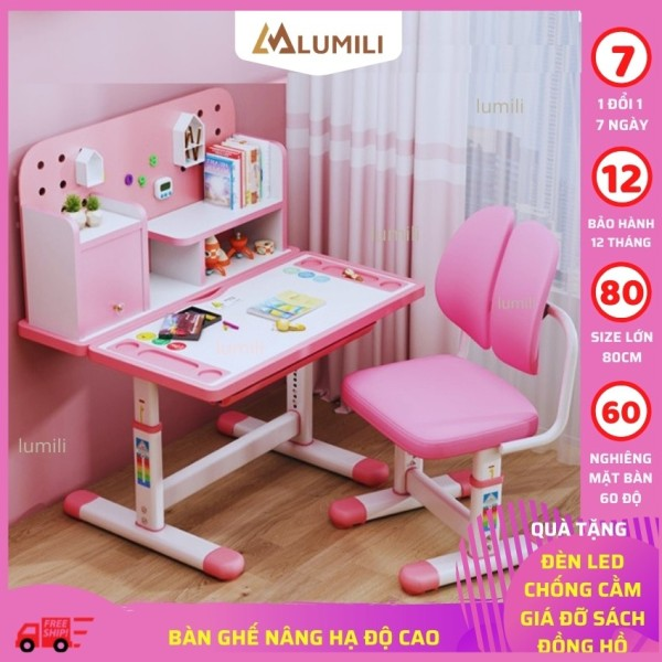 bàn ghế học sinh Lumili R16 có giá sách, bộ bàn học chống gù thông minh kèm kệ sách cho trẻ em điều chỉnh nâng hạ độ cao