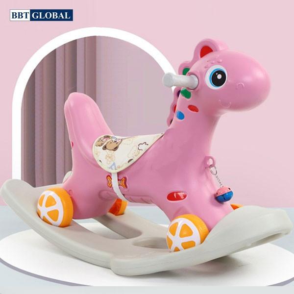 Mua Ngựa bập bênh kết hợp chòi chân kiểu mới, Kết hợp có nhạc cho bé, cho bé vui cho thỏa thích