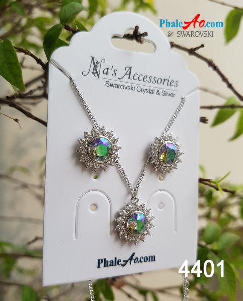 Bộ trang sức bông tai, dây chuyền pha lê Swarovski hoa nắng