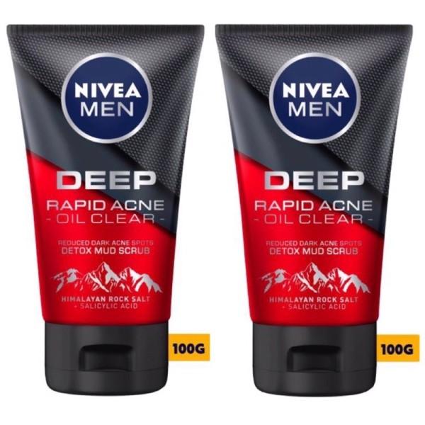 COMBO 2 tuýp Sữa rửa mặt ngừa mụn Nivea Man Deep Rapid Acne Oil Clear 100ml giá rẻ