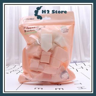 Set bông trang điểm dạng khối 3D giá rẻ 15 miếng tiện lợi sử dụng khô và ướt thumbnail