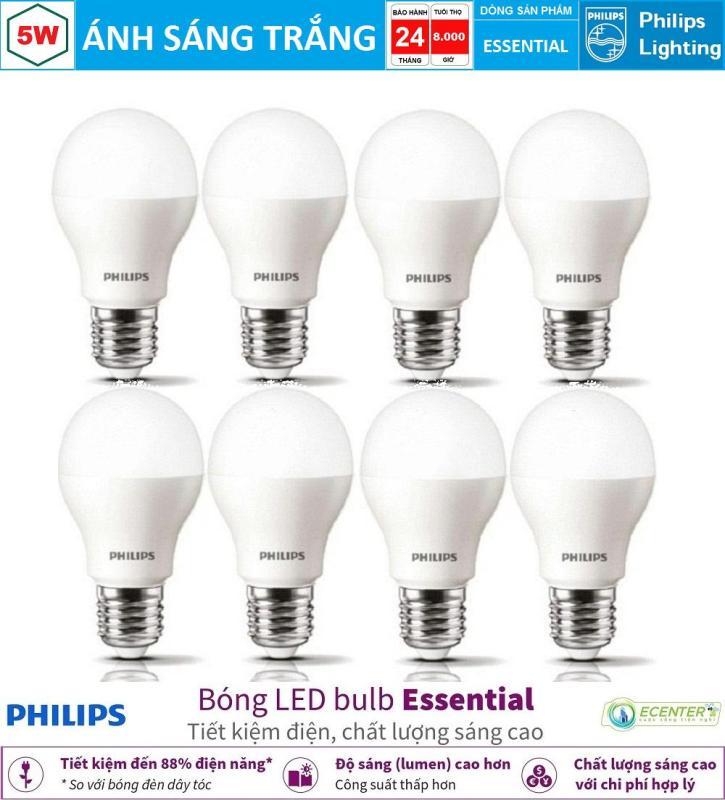 ( Bộ 8 ) Bóng LED Bulb Philips Essential 5W E27 ( Ánh sáng trắng & vàng )