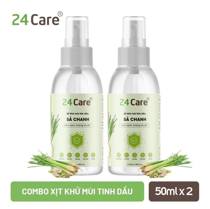 Combo 2 chai xịt phòng tinh dầu Sả Chanh 24Care  đuổi muỗi, kháng khuẩn giá rẻ