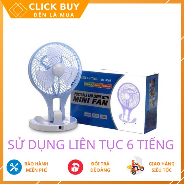 Quạt Tích Điện Gấp Gọn Mini Fan 5580 Tích Hợp Đèn, Với 2 Chế Độ Gió Và Dung Lượng Pin Cao Sử Dụng 6 Đến 8 Tiếng BẢO HÀNH 1 NĂM