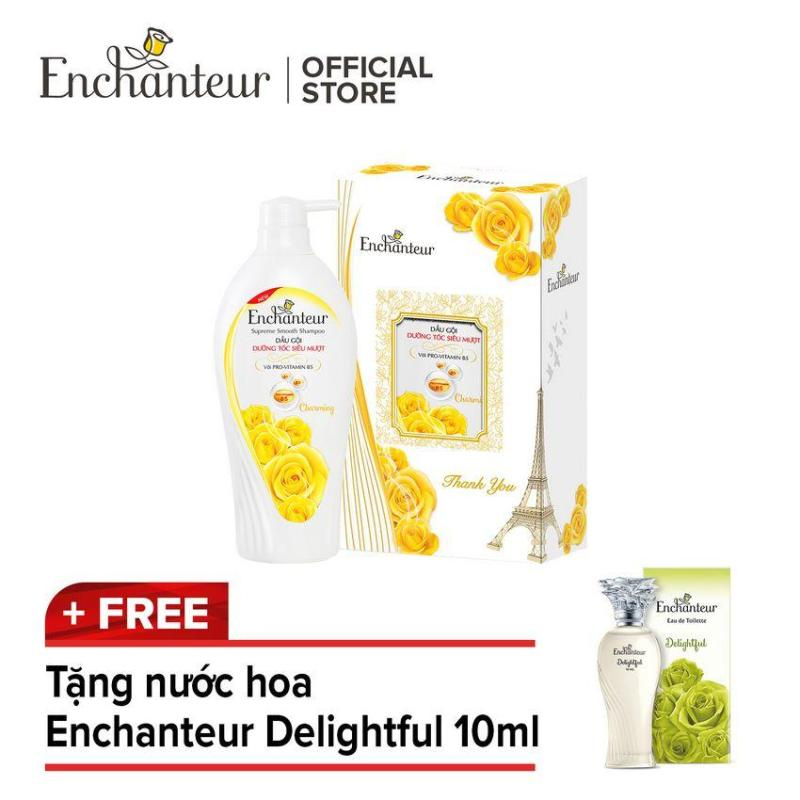Hộp Quà Dầu Gội Dưỡng Tóc Siêu Mượt Enchanteur Charming 650g tặng Nước Hoa Enchanteur Delightful 10ml giá rẻ