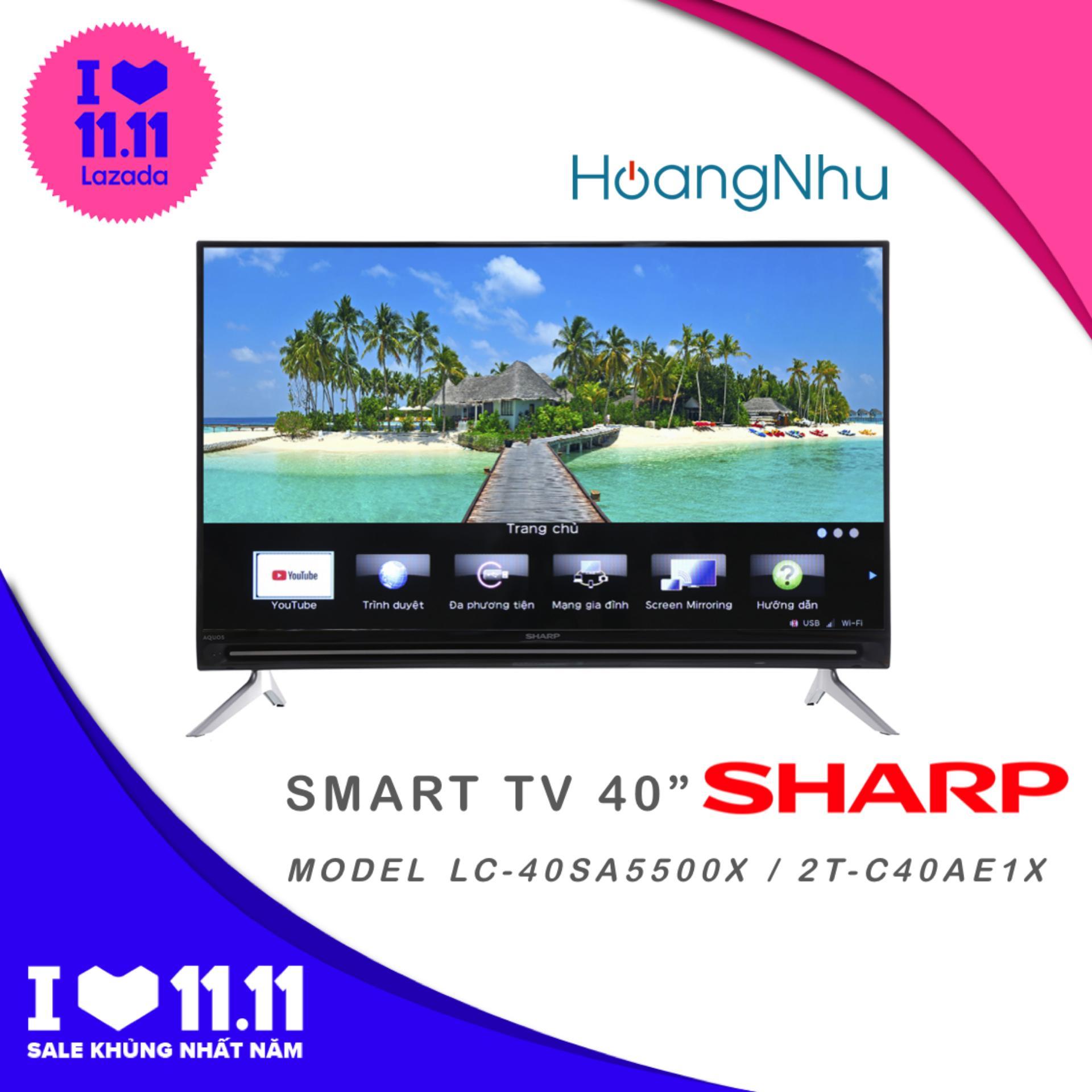 Smart Tivi Sharp 40 inch model LC-40SA5500X / 2T-C40AE1X (Tivi thông minh, Full HD, tích hợp đầu thu KTS)