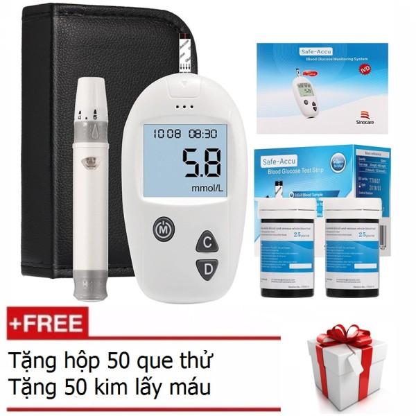 Máy đo đường huyết Safe Accu - Sinocare Đức (Tặng kèm 50 que thử và 50 kim) nhập khẩu