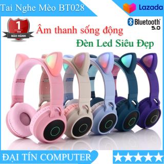 Tai Nghe Mèo Tai Nghe Bluetooth Tai Nghe Không Dây Tai Nghe Chụp Tai BT28 Âm Thanh Sống Động Có Đèn Led Nhấp Nháy Vô Cùng Đáng Yêu Sử Dụng Bluetooth 5.0 thumbnail
