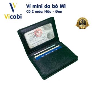 Ví mini Da Bò Vicobi M1,Bóp nhỏ gọn cầm tay đựng thẻ Name Card ATM, GPLX mới, bằng lái mới, gia công tại Việt Nam thumbnail