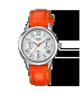 Đồng hồ nữ Casio SHEEN SHE-3049L-7A Dây màu cam, mặt đính đá sang trọng thumbnail