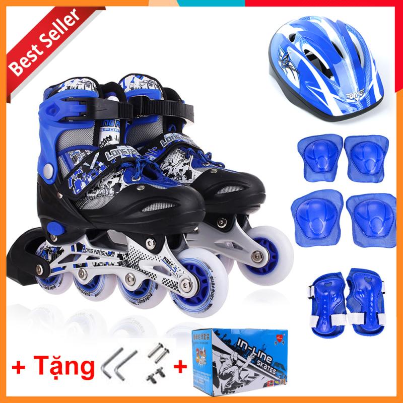 Phân phối Bộ Giày Patin Longfeng 3 in 1 , giày trượt patin đầy đủ bảo hộ chân tay và mũ chính hãng tặng kèm hộp vàn bộ ốc vít màu Xanh