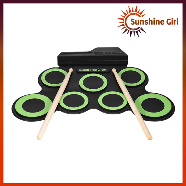 Compact Size Portable Digital Electronic Roll Up Drum Set Kit 7 Silicon Drum Pads USB Powered with Drumsticks Foot Pedals 3.5mm Audio Cable for Practice Beginners Kids