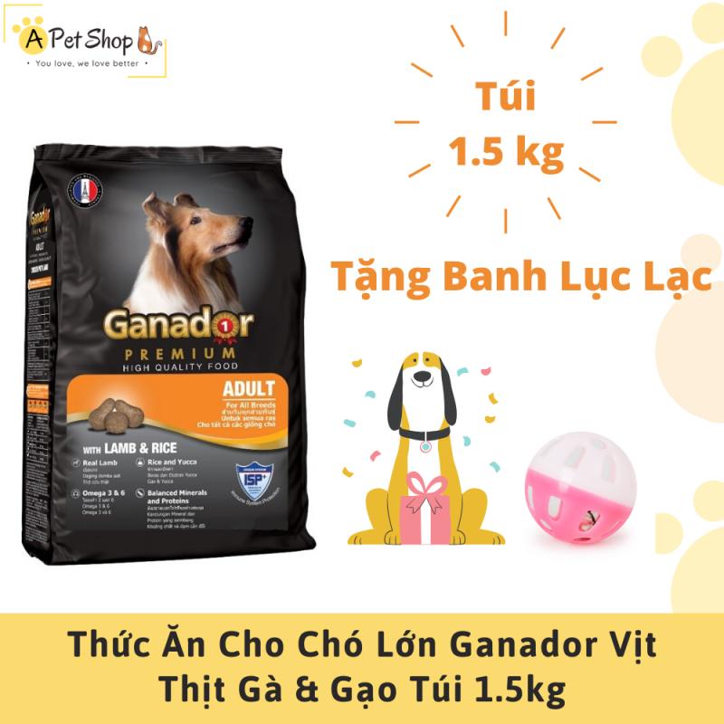 (Tặng Banh Lục Lạc) Thức Ăn Cho Chó Lớn Ganador Vị Thịt Cừu & Gạo 1.5Kg - A Pet Shop