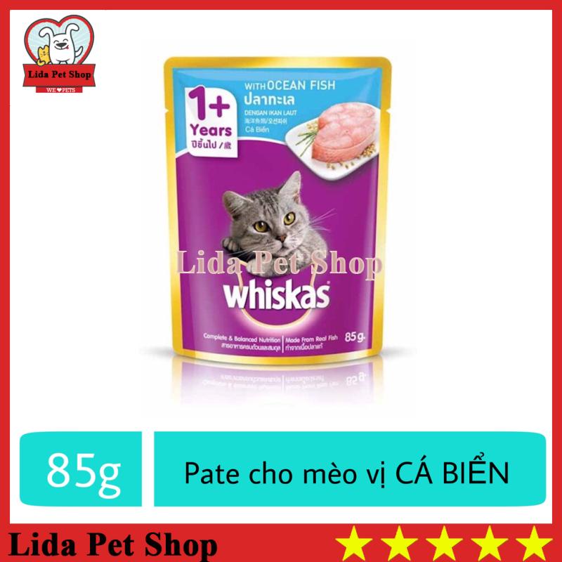 HN- Thức ăn ướt pate / xốt Whiskas hương vị Cá Biển dành cho mèo lớn - Gói 85g - Lida Pet Shop