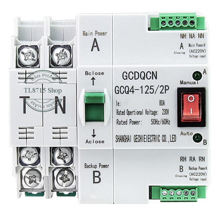 Cầu dao đảo chiều ATS 2P 63A-80A tự động chuyển mạch nhanh không gây mất điện