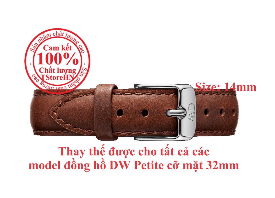 Dây da thay thế cho đồng hồ Daniel WeIlington Classic Petite Bristol cỡ mặt 32mm, size dây 14mm, khóa màu Vàng hồng (Rose Gold) bán chạy