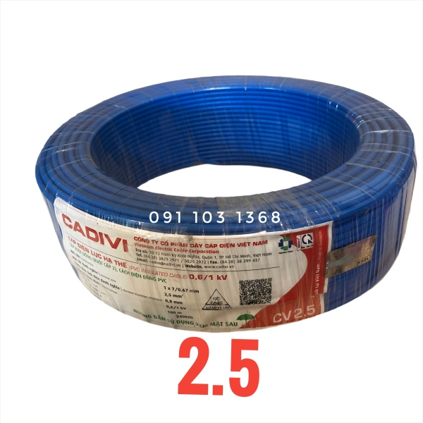 Bảng giá 50M dây điện đơn 2.5 CADIVI
