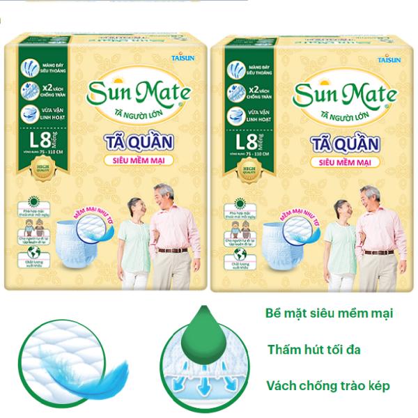 Combo 2 gói tã quần Sunmate size L8 - tã quần người lớn size L (8 miếng x 2)