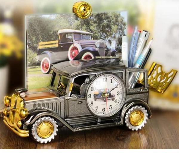Đồng hồ báo thức hình ô tô độc đáo phong cách cổ điển, sang trọng có ống đựng bút siêu tiện dụng bán chạy